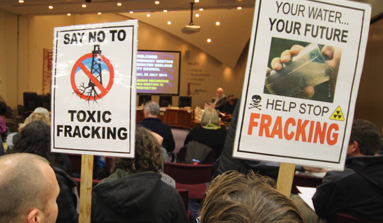 Protestors at City of Greater Geelong Council meeting in July 2014