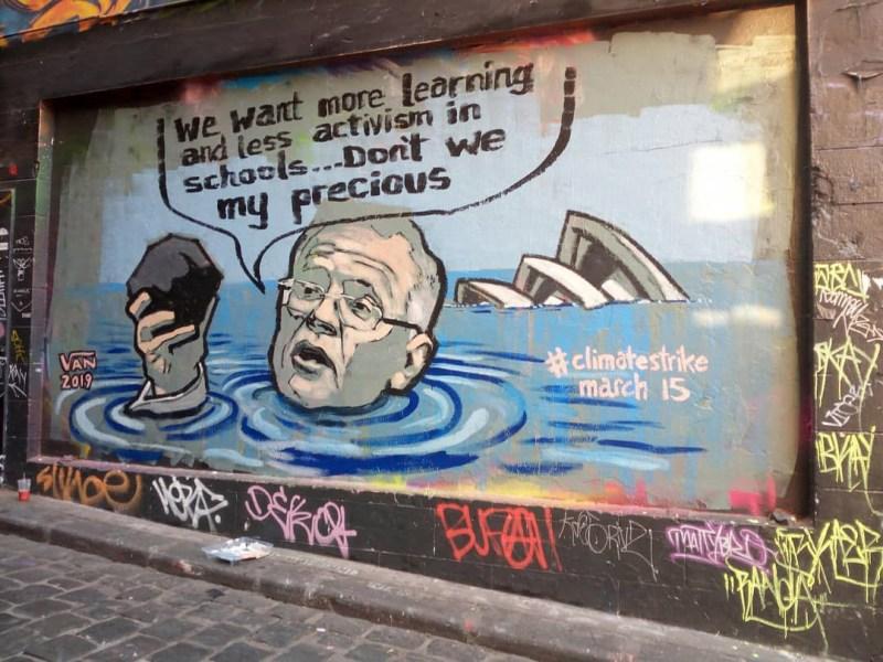 Mural in Hosier Lane in Melbourne by street-artist Van T Rudd.