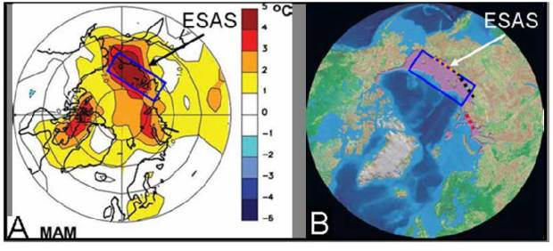 Arctic warming affects the ESAS the most