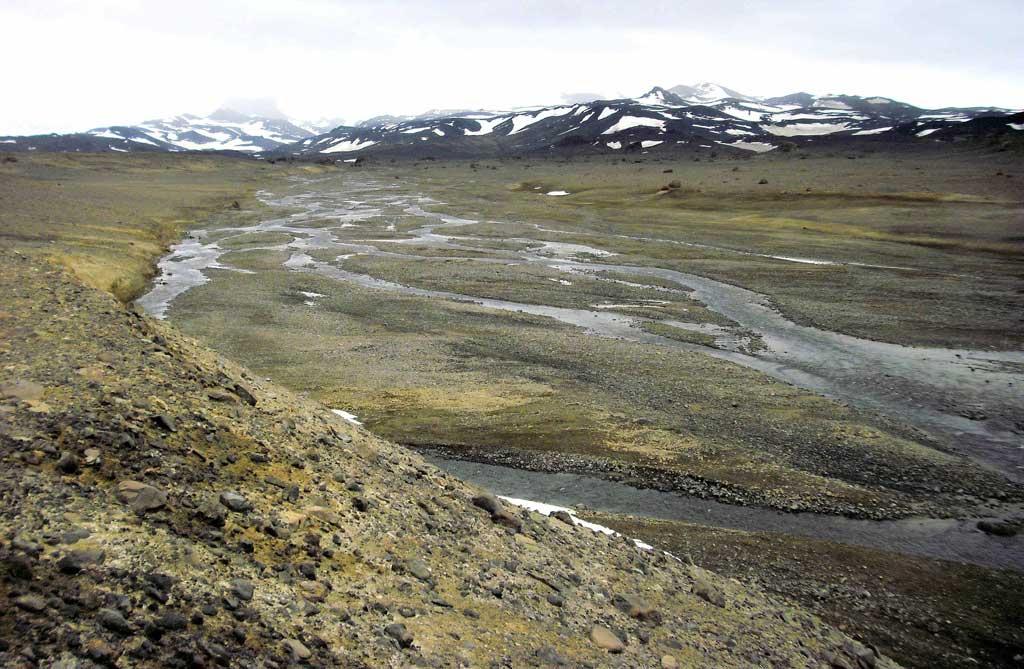 A small paraglacial braided stream transports glacial sediments on Ulu Peninsula, James Ross Island