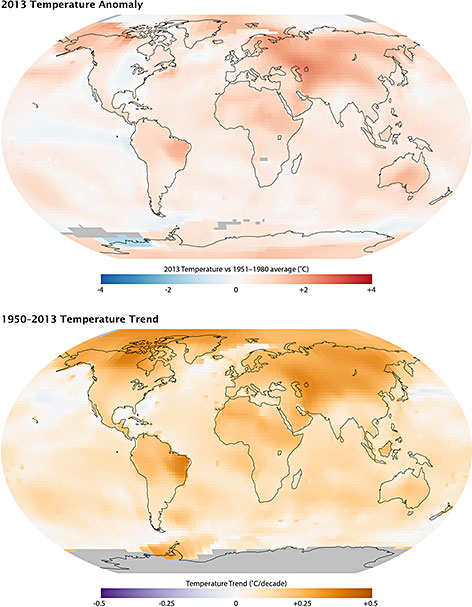 Maps of the 2013 global temperature anomaly (top) and the 1950-2013 temperature trend (bottom.) (Image Credit: NASA/GSFC/Earth Observatory, NASA/GISS)