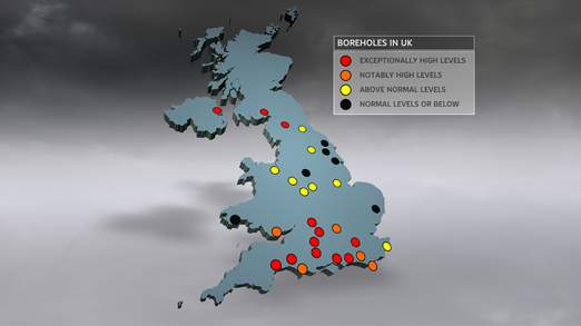 UK boreholes used to measure the height of the water table are overflowing in many areas, with the highest levels ever recorded.