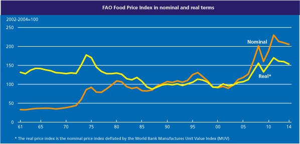 UN FAO Food Price Index through February of 2014. Image source: UN FAO.
