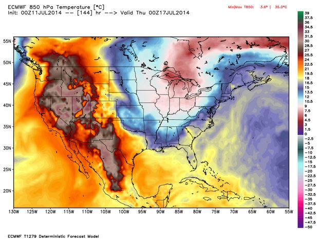 A European model of high temperatures predicted for Wednesday.
