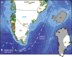 Bedrock terrane boundaries (black dashed lines) and sampling sites for Greenland stream sediments (filled circles; multiple sites per symbol); KMB, Ketilidian Mobile Belt (grey); AB, Archaean Block (red); NMB, Nagssugtoqidian