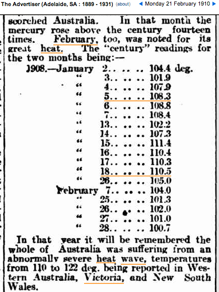 January 1908 : Adelaide's Temperature Rose Above 38°C
