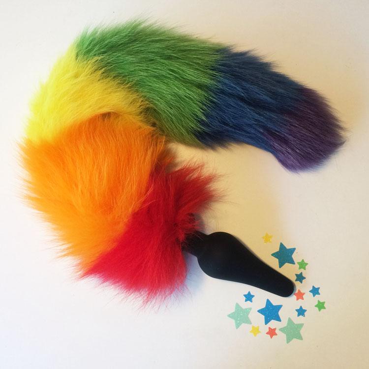 Dit is een afbeelding van regenboog buttplug staart tailz