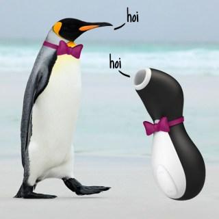 Dit is een afbeelding van satisfyer penguin vibrator op luchtdruk