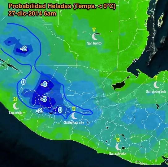 Probabilidad alta de heladas zonas marcadas en azul.