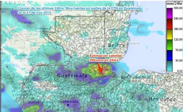 Lluvias por frente frío estimación sateliltal Guatemala