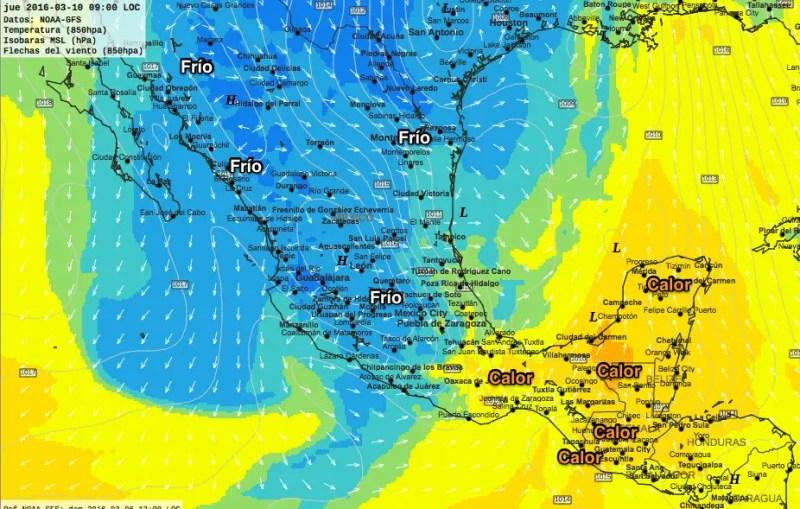Jueves 9am - Frío en casi todo México, calor sureste y Yucatán.