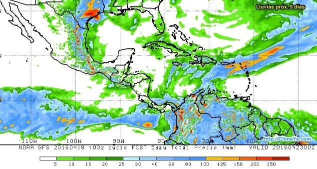 Lluvias Próx. 5 días - Mesoamérica