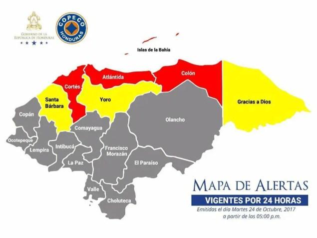 Mapa de alertas 24-10-17 +24h