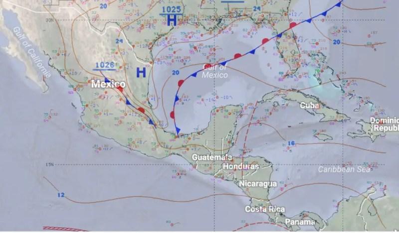 Frente frío estacionario en el Golfo de México