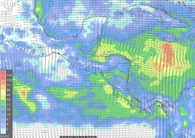 Lluvias 24h y vientos miércoles 3-10-18