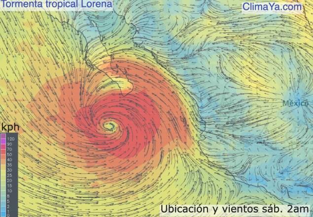 Ubicación y vientos de Lorena