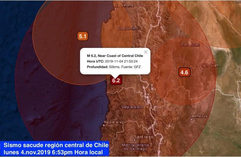 Fuerte sismo sacude región central de Chile
