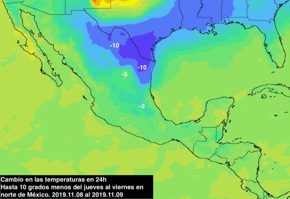 Descenso de temperatura Norte de México