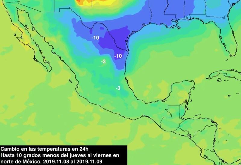 Descenso de temperatura Norte de México, zonas marcadas con cambios drásticos del jueves al sábado