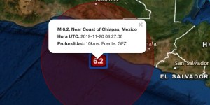 M 6.2, Near Coast of Chiapas, Mexico Hora UTC: 2019-11-20 04:27:06 Profundidad: 10kms. Fuente: GFZ