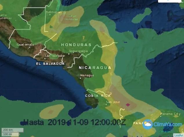 Las lluvias continuarán presentes en la vertiente caribe de Centroamérica