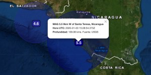 MAG 5.5 9km Oeste of Santa Teresa, Nicaragua Hora UTC: 2020-01-03 15:28:54.373Z Profundidad: 109.08 kms. Fuente: USGS