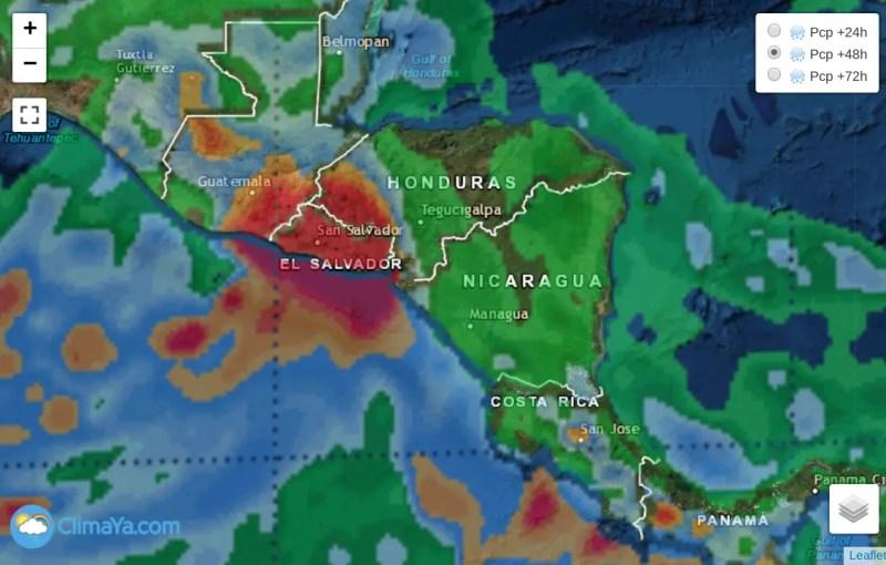 Lluvias pronosticadas próximas 24h afectando principalmente El Salvador y Guatemala