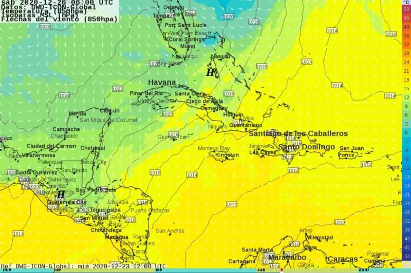 Masa de aire frío sobre México y norte de C.A. 26 diciembre 2020  00H