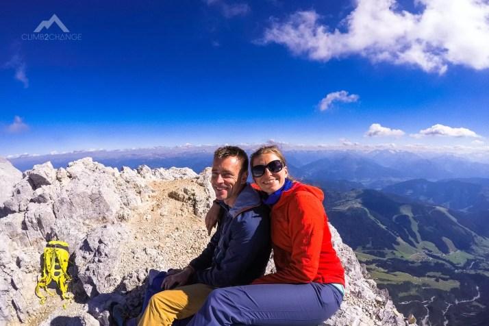 Na szczycie Hoher Kopf (2875 m n.p.m.), ferrata Kӧnigsjodler