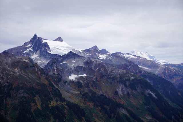 Clark Mountain and Glacier Peak in the clouds.