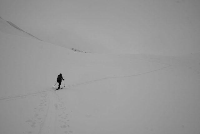 Skinning up the northwest bowl of Ptarmigan Perch