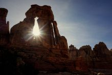 Sun shines through the Druid Arch.
