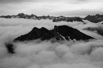 Hoof Peak poking above the clouds.