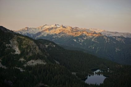 Alpenglow on Daniel and the Deception Lakes.