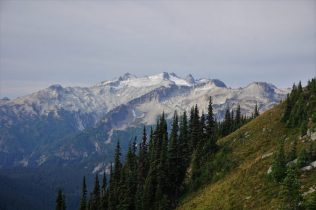 Wonderful alpine hillsides and Mt. Daniel.