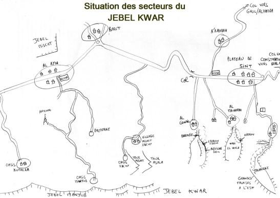 Plan d'accès aux Jebel Assala et Qashait