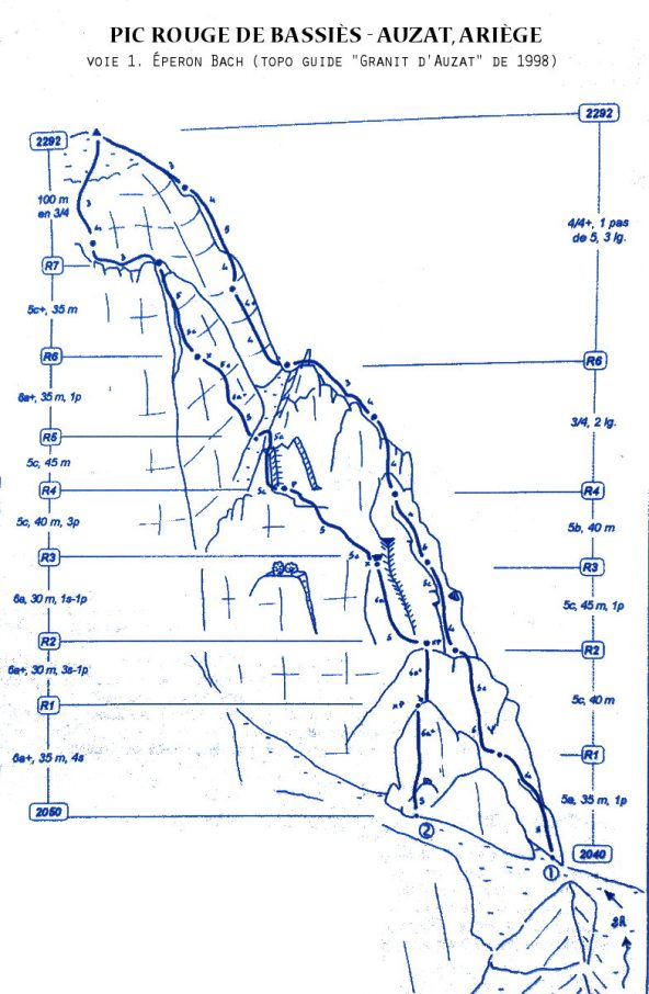 """topo extrait du guide """"Granit d'Auzat"""" 1998"""