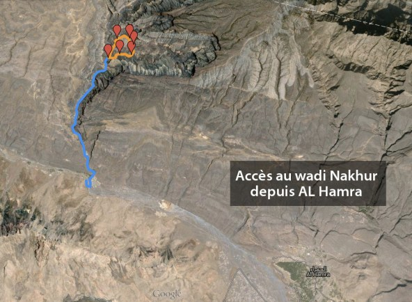 accès au wadi NaKhur depuis AL Hamra