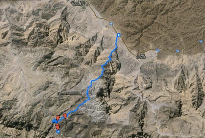accès Wadi Bani Auf (Google Map)
