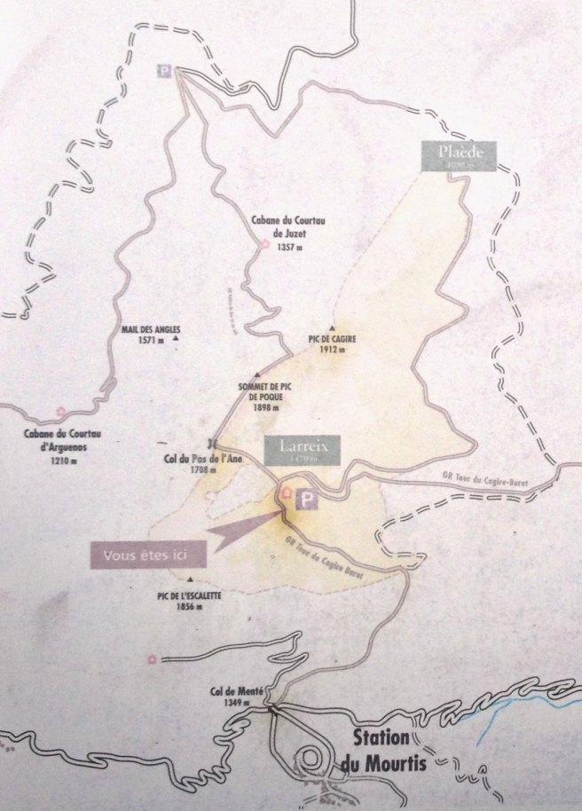 topo de chemin vers le Cagire
