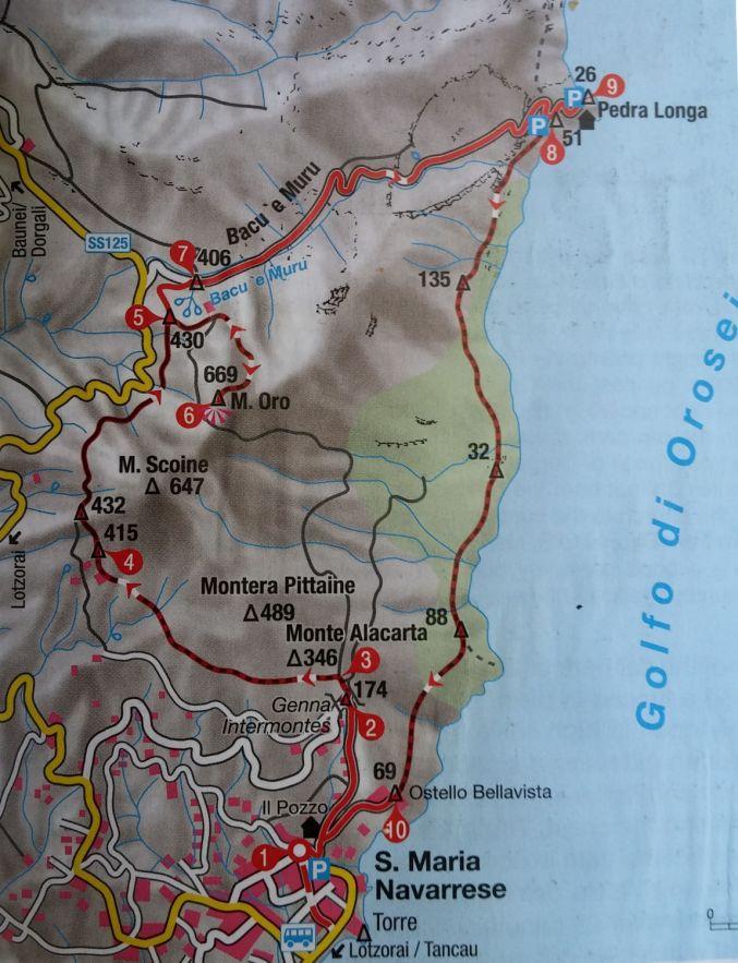 topo du trek (extrait du guide Rother)