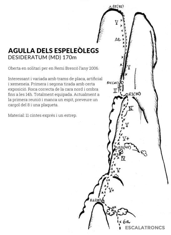 Topo de la voie extrait du site d'Escalatroncs