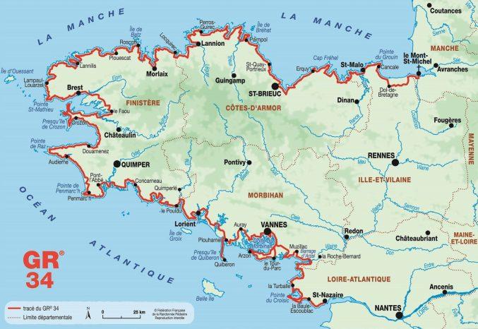 Carte du GR34
