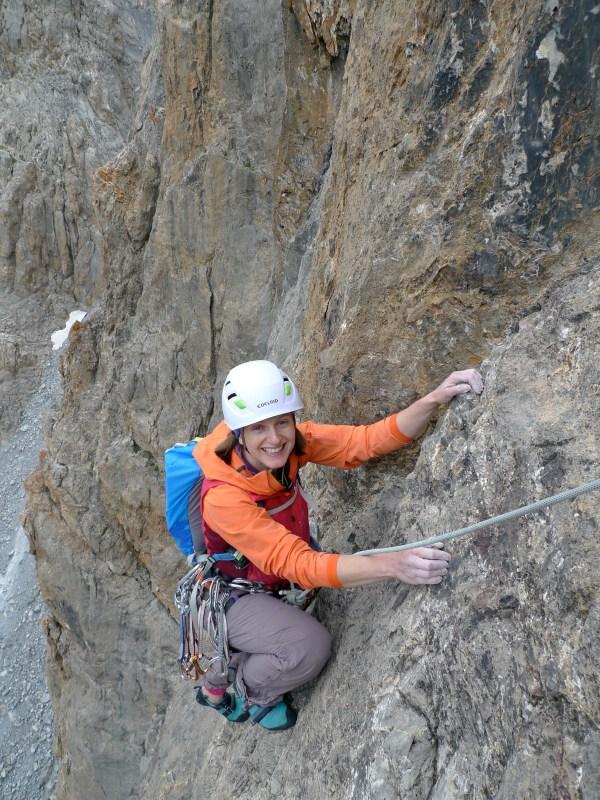 Woman Rock Climbing Harness