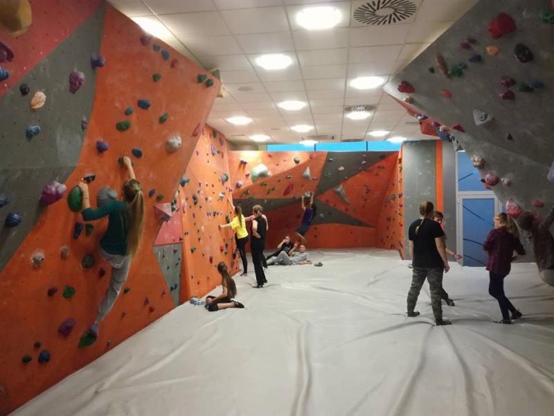 Climbers testing new climbing holds