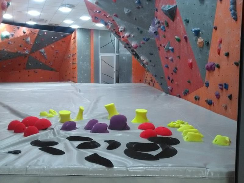Fresh climbing wall holds just unpacked