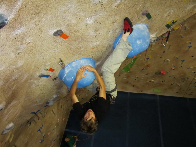 Slopers in climbing gym