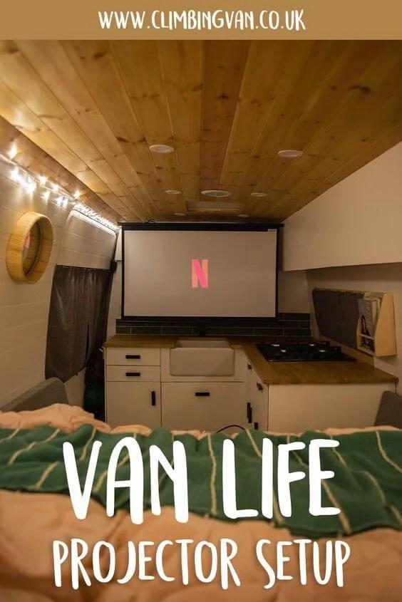 van life projector setup