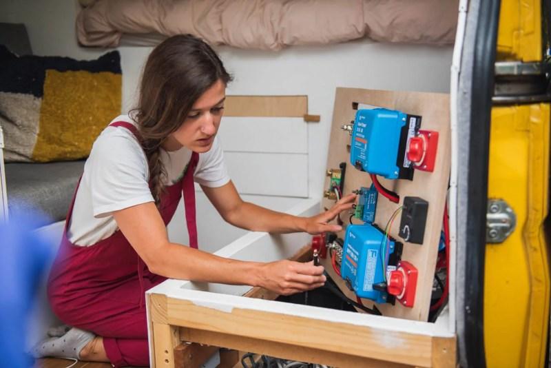 campervan leisure batteries girl wiring a campervan electrical system victron