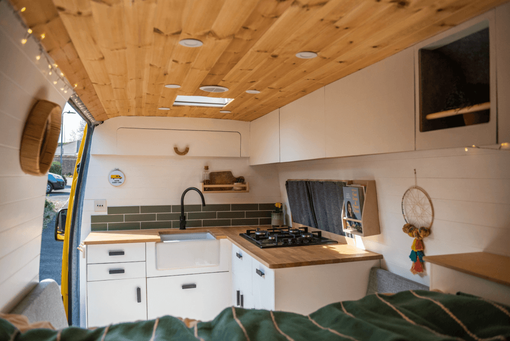 campervan kitchen in a diy self build van conversion belfast sink